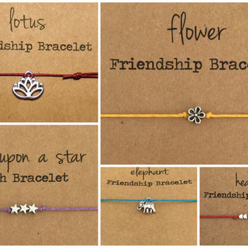 Friendship Bracelet ~ HAPPY BIRTHDAY - Silver Charm ~ Waxed Cotton Cord ~ Beautiful Birthday Wishes ~ choose your charm ~ adjustable