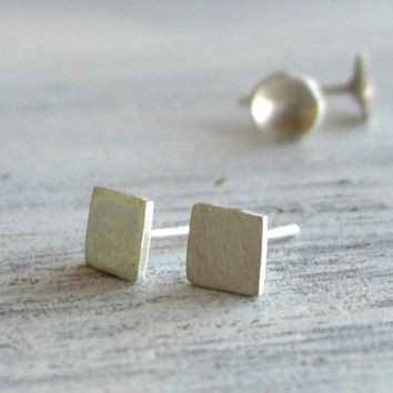 Silver Stud Earrings - Sterling Silver Post - Petite Round or Square Earring Studs - Everyday Wearable Jewelry with FREE Gift Wrapping