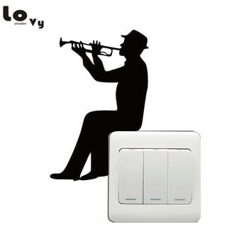 Music Silhouette Light Switch Sticker - Trumpet Wall Decal - Music Wall Art - Music Lover Home Decor
