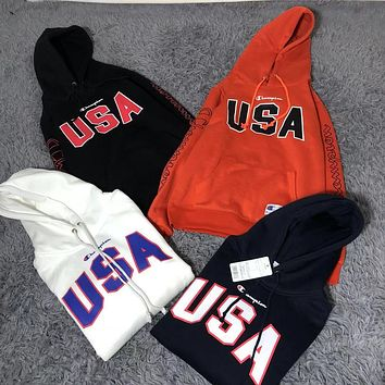 Champion autumn and winter trend couples letter printed hooded long-sleeved sweater
