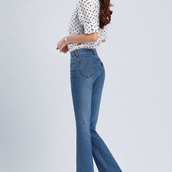 Free Shipping 4-color High Quality Promotion Women's Boot Cut Jeans Mid High Waist Fl