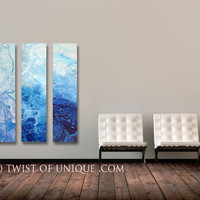 Frozen Industrial Painting / CUSTOM  Art / 3 panel  (48 Inches x 12 Inches) / abstract Wall Art / Ice, frost, Snow, White, blue