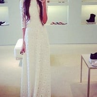 ♡ White Lace Double Layer Elegant Boho Maxi Long Dress ♡