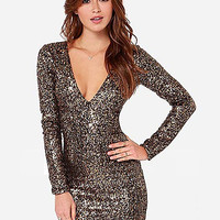 'The Braelynn' Sequined V Collar Mini Dress
