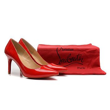 Original Christian Louboutin Red Pointed High Heels 80mm