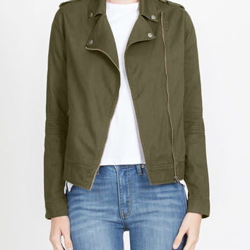 LE3NO Womens Cropped Long Sleeve Zip Up Moto Military Jacket (CLEARANCE)