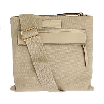 Dolce & Gabbana Beige Canvas Leather Crossbody Messenger Shoulder Bag