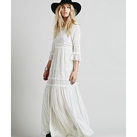 My Journey Boho Embroidery Maxi Dress, Elegant Long Loose Dress