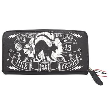 Liquorbrand Jinx Proof Halloween Black Cat Luck Goth Gothic Zip Around Clutch Wallet