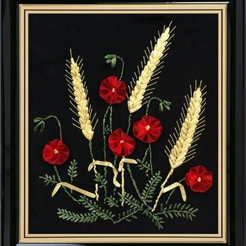 Ribbon embroidery Wheat cross-stitch kits Poppy flower
