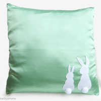 Two Little Lovely Rabbits Mint Pillow Cover. Light Green Bunny Cushion Cover. Pom Pom Appliques. Mint Nursery Decor