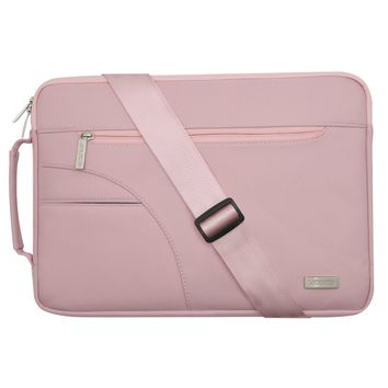 Mosiso Polyester Fabric Sleeve Case Cover Laptop Shoulder Briefcase Bag for 15-15.6 Inch MacBook Pro, Ultrabook Netbook Tablet, Pink