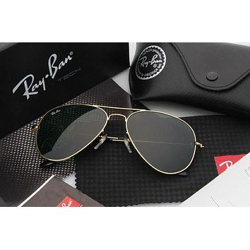 LMFON Ray Ban Aviator Sunglass Gold Dark Green Mirrored RB 3025
