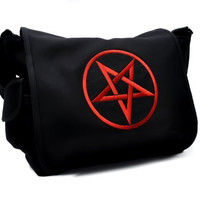 Red Pentagram School Messenger Crossbody Bag Metal Occult