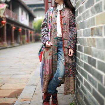 2016 spring and autumn pure cotton clothes folk style dress stitching long coat women