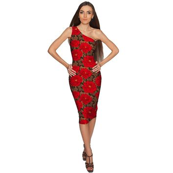 Hot Tango Layla One-Shoulder Red Party Knit Dress - Women