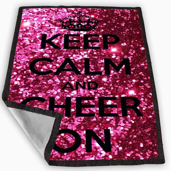 Keep Calm and Cheer On Cheerleading Blanket for Kids Blanket, Fleece Blanket Cute and Awesome Blanket for your bedding, Blanket fleece **