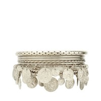 PERFORATED, TWISTED & DANGLY COIN BANGLES - 8 PACK