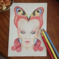 Original drawing - Peacock Butterfly Girl - Coloured pencil drawing