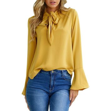 Women Flare Sleeve Blouse Elegant Bow Tie V Neck Long Sleeve Tops Autumn New Arrival Yellow Shirt Camisa Feminina #VE