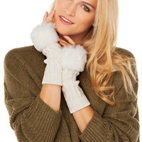 Cable Knit and Faux Fur Arm Warmer in Ivory