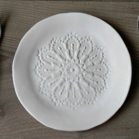 Rustic Ceramic Plate White Lace Dessert Plate Serving Plate