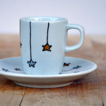 Winter Stars Porcelain Espresso Cup and Saucer set - Hand Painted Winter Decor Coffee set - Made to order