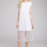 Mesh Net-Paneled Tee Dress