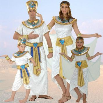 Women Men Costume Egypt Queen Costumes Princess Royal Golden Masquerade theme Party adult halloween cosplay kids child clothing