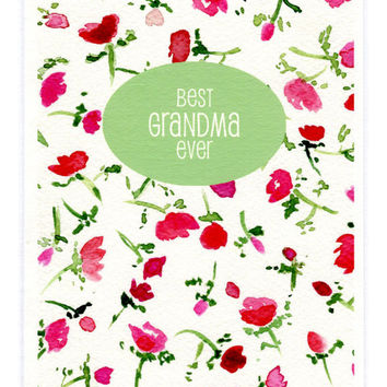 Best Grandma Ever greeting card, Retro watercolor floral , mothers day, Romantic gift card