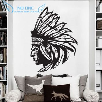 Redskin Native American Indian Chief Wall Decal Sticker Decor Wall Art Vinyl home decoration wall stickers Free shipping 56x80cm