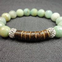 Light Sea Green Amazonite, Dark Coconut Heishi, and Swarovski Crystal Pave With Sterling Silver Beaded Bracelet