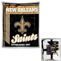 "Licensed Official NFL New Orleans Saints Premium Soft Mink Sherpa Throw Blanket Large 50"" X 60"""