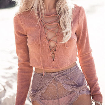 Deep V-Neck Long Sleeve Strappy Top Sweater