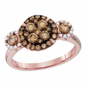 14kt Rose Gold Womens Round Cognac-brown Color Enhanced Diamond Circle Frame Cluster Bridal Wedding Engagement Ring 1.00 Cttw