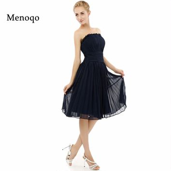 Real Sample New Model A line Chiffon Knee length formal party occasion dresses 2017 hot sell Navy Blue Short Bridesmaid dresses