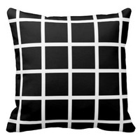 Black & White Grid Patterned Pillow