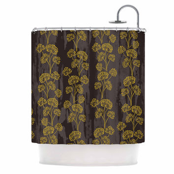 "Neelam Kaur ""Textured Floral Elegance"" Brown Yellow Shower Curtain"