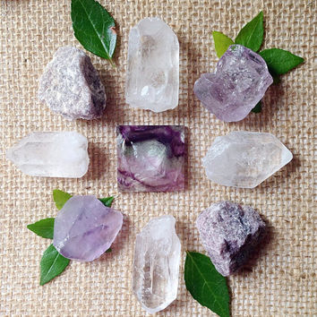 Fluorite Crystal Grid Fluorite Pyramid Healing Crystals and Stones Crystal Kit Stone Grid Healing Grid Beginner Stone Set