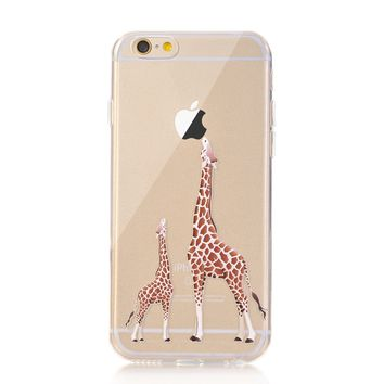 iPhone 7 Case, LUOLNH [New Creative Design] Flexible Soft TPU Silicone Gel Soft Clear Phone Case Cover for iPhone 7 4.7 inch,( 2 Giraffe)
