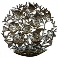 School Of Fish Carved Metal Art