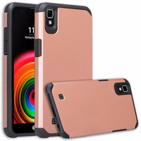 LG X Power Case, Slim Hybrid Dual Layer [Shock Resistant] Case Cover for LG X Power - Rose Gold
