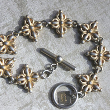 Vintage HATTIE CARNEGIE For Anne Klein-1979 -Textured Star Link Bracelet-POP Vintage