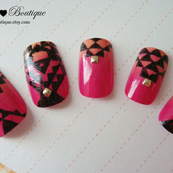 3D Fake Nail Set  - Hot Pink and Orange Ombre Gradient Nails With Black Geometric Aztec Tribal Pattern and Gold Studs