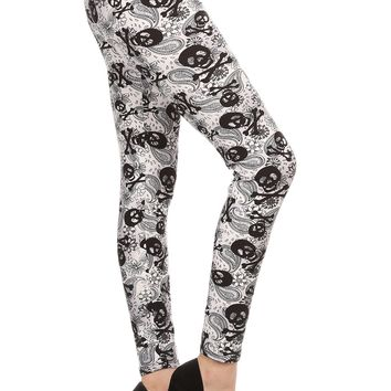 Women's Skull Leggings Skulls Cross Bones & Paisley Black/White: OS/PLUS