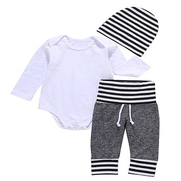 3 Pcs Newborn Toddler Kids Baby Boys Outfit Clothes Solid White Bodysuit Onesuit+ Pants+Hat  Set Clothing