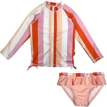 "Baby Girl Long Sleeve Zipper Rash Guard Swimsuit Set (2 Piece) UPF 50+ | ""Peachy Stripe"""