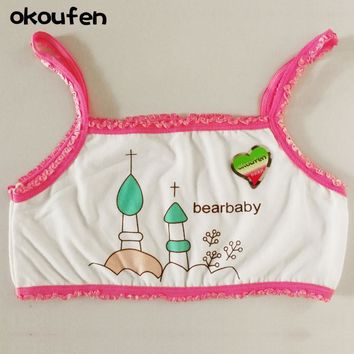 okoufen New cotton teenage girl underwear white straps puberty girls bras no steel sponge bras for kids bra cartoon training bra