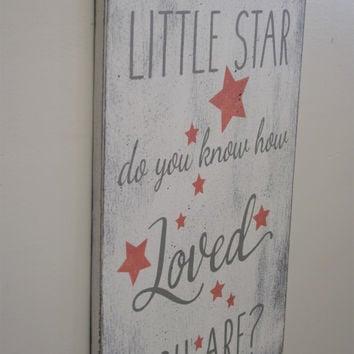 Wood Nursery Sign Twinkle Twinkle Little Star Do You Know How Loved You Are Shabby Chic Nursery Vintage Nursery Girls Nursery Baby Gift