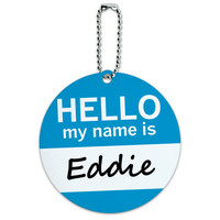Eddie Hello My Name Is Round ID Card Luggage Tag